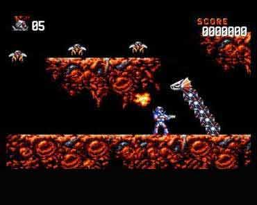 Uno screenshot di Turrican, gioco del Commodor 64 e dell'Amiga 500.