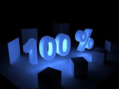 Completare un gioco al 100% - Scritta 100% con luci