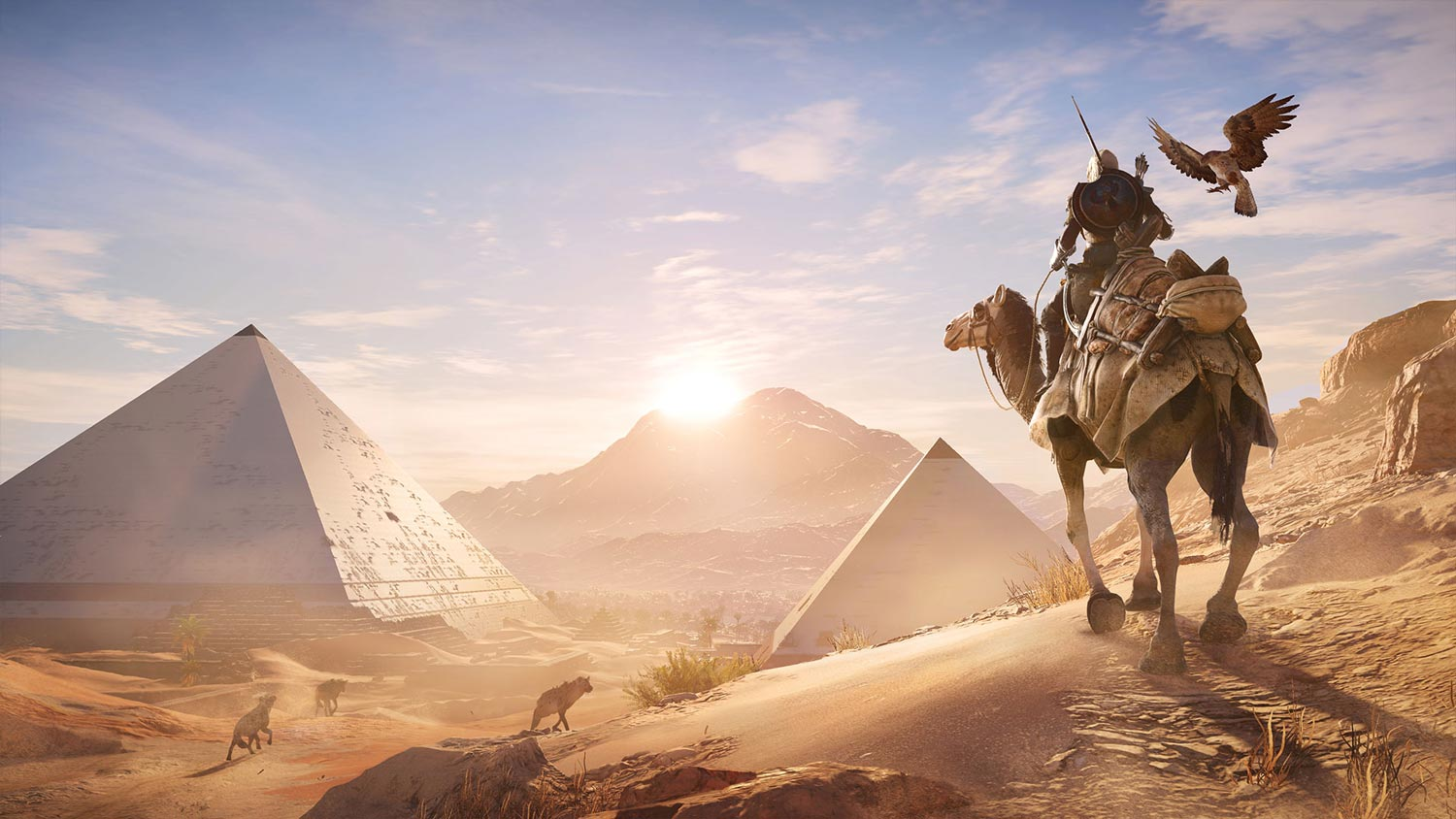 Assassin's Creed Origins - piramidi in lontananza.