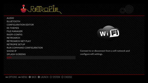 Raspberry Pi Retropie - La schermata del Wifi.