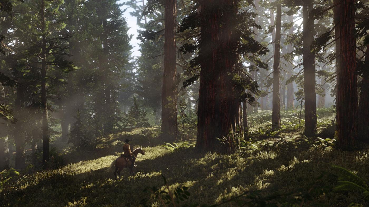 Red Dead Redemption 2, un ambiente di gioco boschivo.