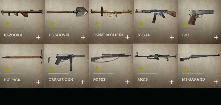 Alcune delle armi di COD WW2.