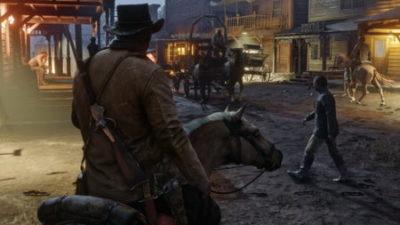 Red Dead Redemption 2, a cavallo in un villaggio.