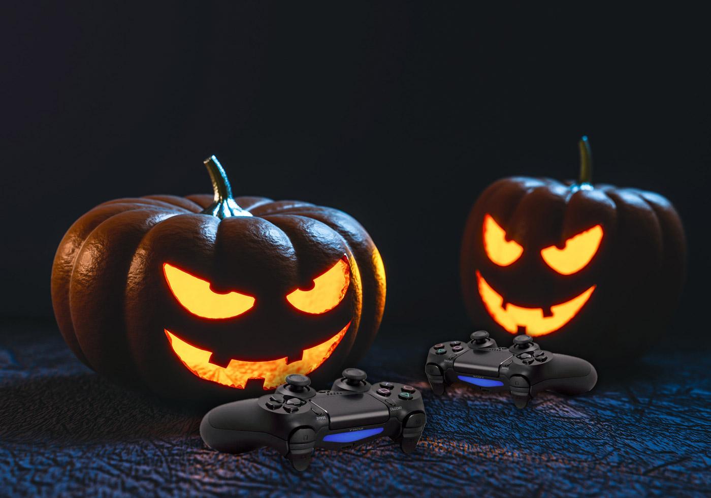 Halloween e Videogiochi, zucche giocano con la Play Station.