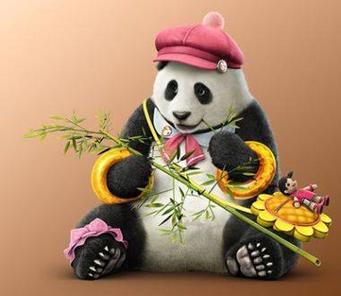 Il Panda di Tekken con un cappellino rosa e gadget vari.