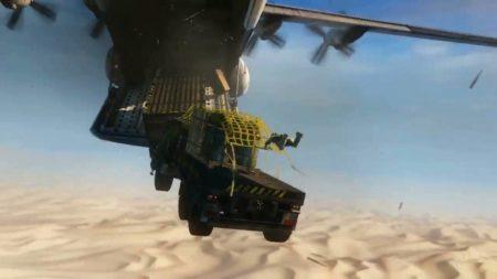 Caduta libera da aereo - Uncharted azione.