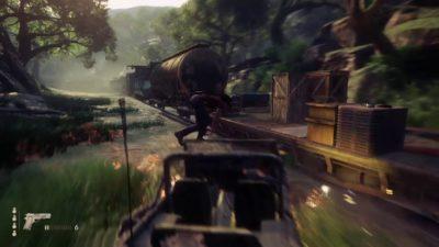 Saltare su una Jeep da un treno in corsa - Uncharted.