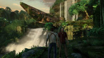 Sommergibile dentro una cascata in Uncharted.