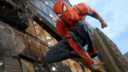 Spider man nel videogioco per PS4.