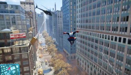 Screenshot del gameplay, la scena dell'elicottero già vista nelle anteprime di Spider-Man.