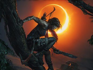 Immagine artistica di Lara Croft con un'eclissi nello sfondo.