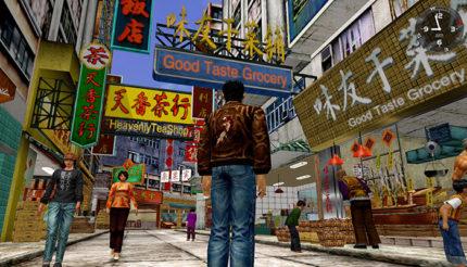 Shenmue, immagine di gioco in un ambiente reale popolato.