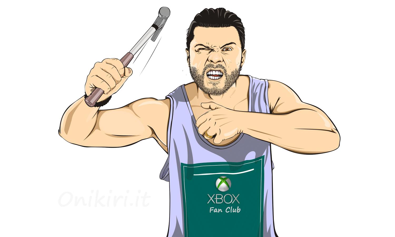 Un appassionato di videogiochi arrabbiato e armato di martello.